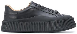 Jil Sander Ridged-Sole Leather Low-Top Sneakers