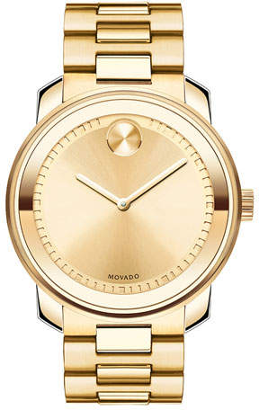 Movado Bold 42.5mm Gold IP Stainless Steel Watch