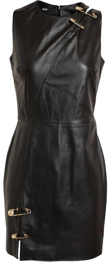 Versus Safety Pin Leather Dress