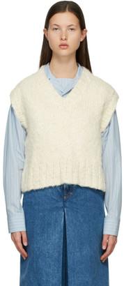 Maison Margiela Off-White Silk V-Neck Sweater