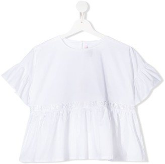 Miss Blumarine TEEN logo embroidered peplum top