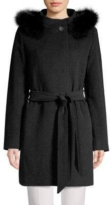 Cinzia Rocca Icons Fox Fur Hooded Wrap Coat