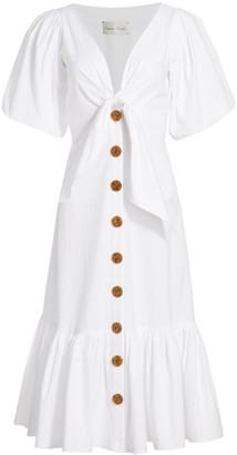Cara Cara Georgica Tie-Front Flounce Dress