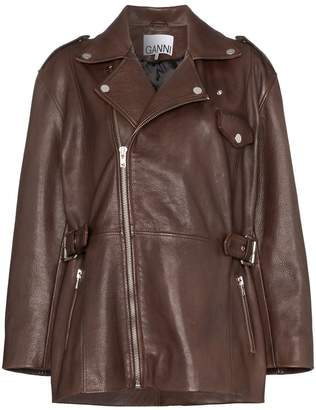 Ganni mid-length biker jacket