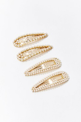Forever 21 Faux Pearl Snap Clip Set