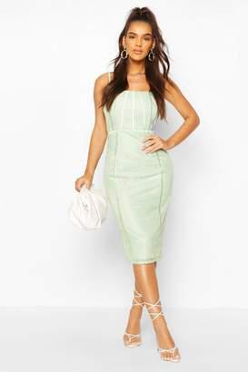 boohoo Square Neck Lace Midi Dress