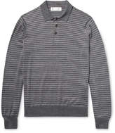 Brunello Cucinelli Striped Wool and Cashmere-Blend Polo Shirt