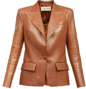 Alexandre Vauthier Single-breasted Leather Blazer - Dark Brown