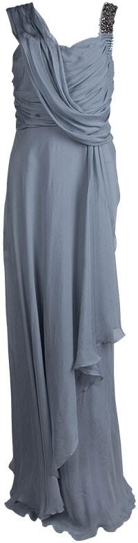 Matthew Williamson Grey Silk Draped Asymmetric Embellished Gown M