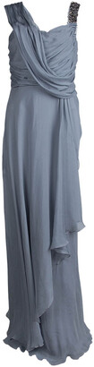 Matthew Williamson Grey Silk Draped Asymmetric Embellished Gown M