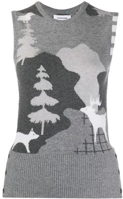Thom Browne Forest Scenery Intarsia Sleeveless Jumper