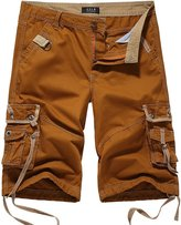 SSLR Men's Cotton Flat Front Army Cargo Shorts