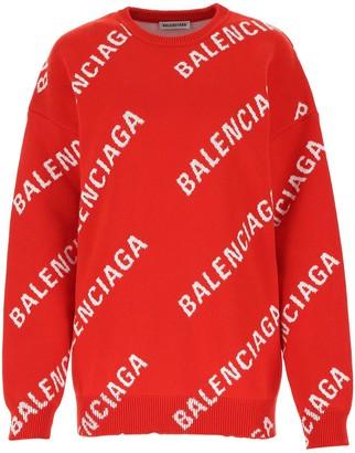 Balenciaga All Over Logo Knit Sweater