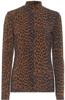Ganni Leopard-print stretch-cotton sweater