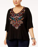 Eyeshadow Trendy Plus Size Embroidered Top