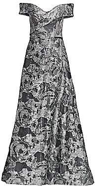 Rene Ruiz Collection Women's Off-The-Shoulder Metallic Brocade Gown