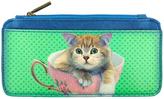 Green Teacup Cat Teacup Cardholder