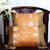 Pastoral Office Of the New Style Classic Cushion Lumbar Pillow Sofa Bed Pillow Backs Car Waist Cushion Orange With a Silver Spoon 50X50cm(Solid Color)