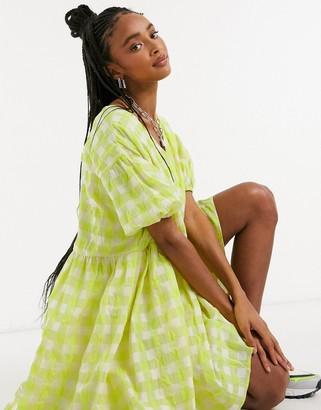 Glamorous oversized mini smock dress in neon check
