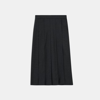 Theory Panel Pleated Skirt in Sleek Flannel