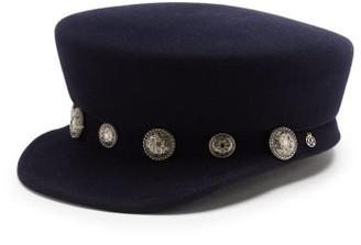 Maison Michel Abby Star-stud Felt Bakerboy Cap - Navy