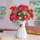 Artificial Flower SituMi SituMi Artificial Fake Flowers Home Decorating,Potted Red Daisies Plastic Weaving Flower Baskets