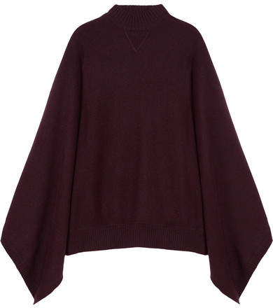Givenchy Oversized Cashmere Turtleneck Poncho - Burgundy