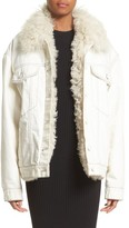 Alexander Wang Women's Denim Boyfriend Jacket With Genuine Shearling Lining