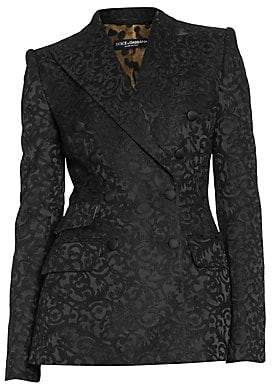 Dolce & Gabbana Women's Floral Jacquard Double Breasted Blazer