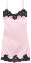 Dolce & Gabbana Lace-trimmed Stretch Silk-satin Chemise - Baby pink