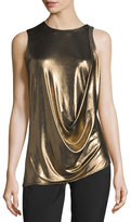 Halston Sleeveless Draped Metallic Jersey Top, Bronze