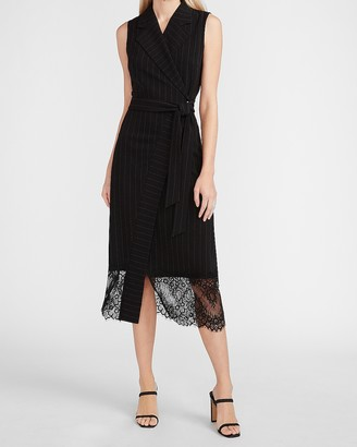 Express Pinstripe Lace Trim Blazer Wrap Dress
