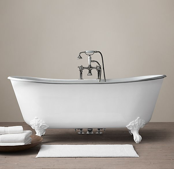 Restoration Hardware Piedmont Pedestal Soaking Tub and Tub Fill with Handheld Shower