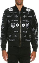 Marcelo Burlon County of Milan Roldan Alpha MA-1 Mirrored-Patch Bomber Jacket, Black