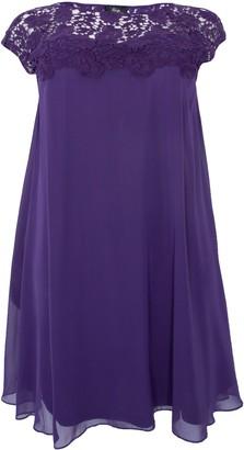 Evans **Aarya Purple Lace Swing Dress