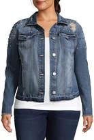 Boutique + + Embellished Denim Jacket - Plus
