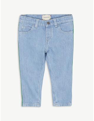 Gucci Web-striped denim jeans 12-36 months