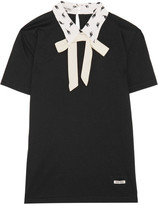 Miu Miu Printed Silk-trimmed Cotton-jersey Top - Black