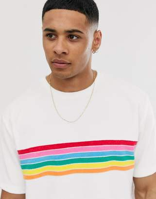 Asos Design DESIGN relaxed t-shirt with stripe chest in towelling-White