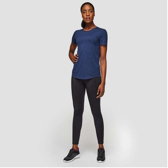 Joe Fresh Women's Moisture-Wicking Crew Neck Tee, Navy Mix (Size L)