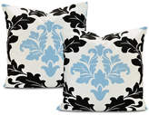 "Exclusive Fabrics & Furnishings Deauville Printed Cotton Cushion Cover, Set of 2, 20""x20"""