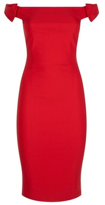 Dorothy Perkins Womens *Vesper Red Bardot Bow Pencil Dress, Red