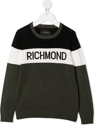 John Richmond Junior Intarsia-Knit Logo Sweater