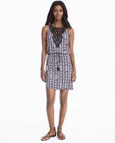 White House Black Market Sleeveless Crochet Bib Print Knit Dress