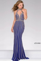 Jovani Long Beaded High Neck Prom Dress 41350