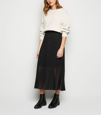 New Look Button Up Pleated Midi Skirt