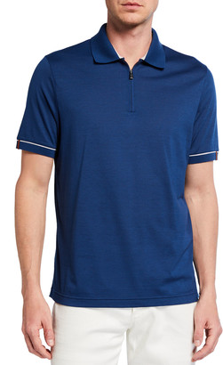 Loro Piana Men's Golf-Knit Quarter-Zip Polo Shirt