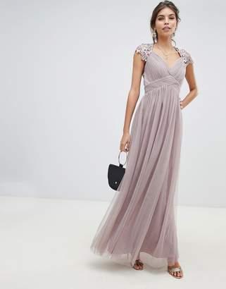 Little Mistress sheer crochet back and cap sleeve empire waist mesh maxi dress-Gray