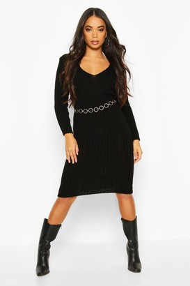 boohoo Petite V Neck Knit Midi Dress