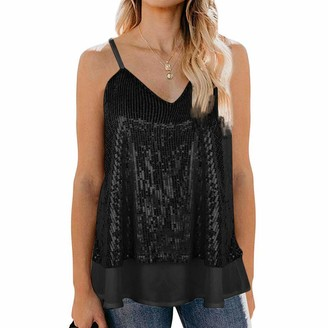 Hulky Women's Tops HULKY Women's Sleeveless Sparkle Shimmer Camisole Vest Sequin Tank Tops Sexy Club Sequin Spaghetti Strap Crop Camisole Tank Tops Green